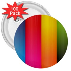 Rainbow Stripes Vertical Lines Colorful Blue Pink Orange Green 3  Buttons (100 Pack)  by Mariart
