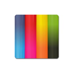 Rainbow Stripes Vertical Lines Colorful Blue Pink Orange Green Square Magnet by Mariart