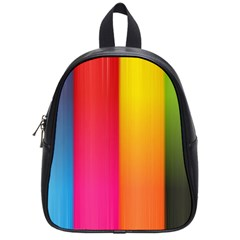 Rainbow Stripes Vertical Lines Colorful Blue Pink Orange Green School Bag (small) by Mariart