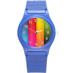 Rainbow Stripes Vertical Lines Colorful Blue Pink Orange Green Round Plastic Sport Watch (s) by Mariart