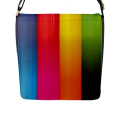 Rainbow Stripes Vertical Lines Colorful Blue Pink Orange Green Flap Messenger Bag (l)  by Mariart