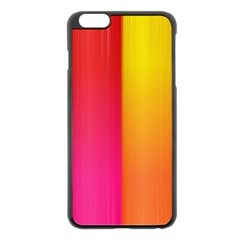 Rainbow Stripes Vertical Lines Colorful Blue Pink Orange Green Apple Iphone 6 Plus/6s Plus Black Enamel Case by Mariart