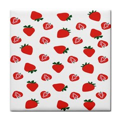 Red Fruit Strawberry Pattern Tile Coasters by Mariart