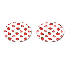 Red Fruit Strawberry Pattern Cufflinks (oval) by Mariart