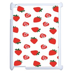 Red Fruit Strawberry Pattern Apple Ipad 2 Case (white) by Mariart