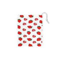 Red Fruit Strawberry Pattern Drawstring Pouches (xs)  by Mariart
