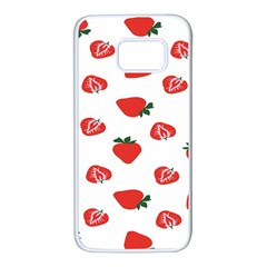 Red Fruit Strawberry Pattern Samsung Galaxy S7 White Seamless Case by Mariart