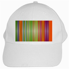 Rainbow Stripes Vertical Colorful Bright White Cap by Mariart