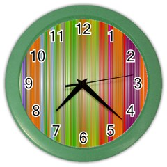 Rainbow Stripes Vertical Colorful Bright Color Wall Clocks by Mariart