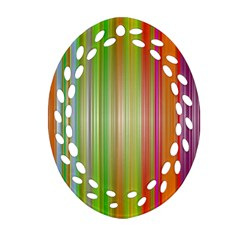 Rainbow Stripes Vertical Colorful Bright Oval Filigree Ornament (two Sides) by Mariart