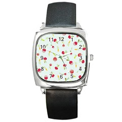 Root Vegetables Pattern Carrots Square Metal Watch by Mariart