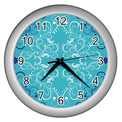 Repeatable Patterns Shutterstock Blue Leaf Heart Love Wall Clocks (silver)  by Mariart
