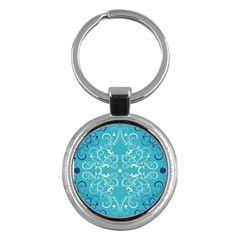 Repeatable Patterns Shutterstock Blue Leaf Heart Love Key Chains (round)  by Mariart