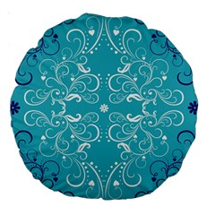 Repeatable Patterns Shutterstock Blue Leaf Heart Love Large 18  Premium Round Cushions by Mariart