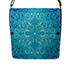 Repeatable Patterns Shutterstock Blue Leaf Heart Love Flap Messenger Bag (l)  by Mariart