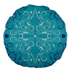 Repeatable Patterns Shutterstock Blue Leaf Heart Love Large 18  Premium Flano Round Cushions by Mariart