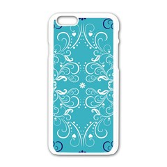 Repeatable Patterns Shutterstock Blue Leaf Heart Love Apple Iphone 6/6s White Enamel Case by Mariart