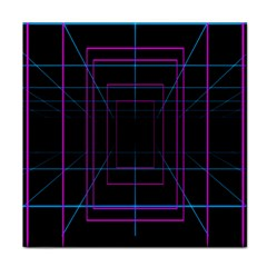Retro Neon Grid Squares And Circle Pop Loop Motion Background Plaid Purple Tile Coasters by Mariart