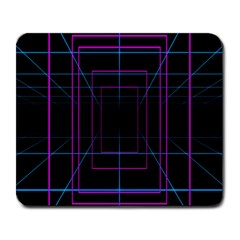 Retro Neon Grid Squares And Circle Pop Loop Motion Background Plaid Purple Large Mousepads by Mariart