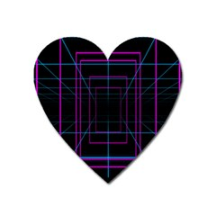 Retro Neon Grid Squares And Circle Pop Loop Motion Background Plaid Purple Heart Magnet by Mariart