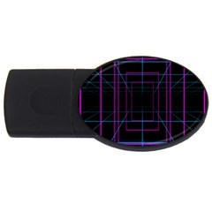 Retro Neon Grid Squares And Circle Pop Loop Motion Background Plaid Purple Usb Flash Drive Oval (2 Gb) by Mariart