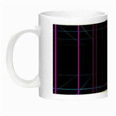 Retro Neon Grid Squares And Circle Pop Loop Motion Background Plaid Purple Night Luminous Mugs by Mariart