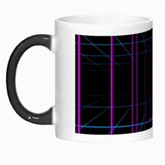 Retro Neon Grid Squares And Circle Pop Loop Motion Background Plaid Purple Morph Mugs by Mariart