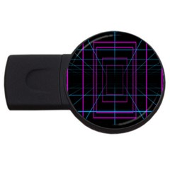 Retro Neon Grid Squares And Circle Pop Loop Motion Background Plaid Purple Usb Flash Drive Round (4 Gb) by Mariart