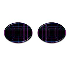 Retro Neon Grid Squares And Circle Pop Loop Motion Background Plaid Purple Cufflinks (oval) by Mariart