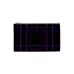 Retro Neon Grid Squares And Circle Pop Loop Motion Background Plaid Purple Cosmetic Bag (small)  by Mariart