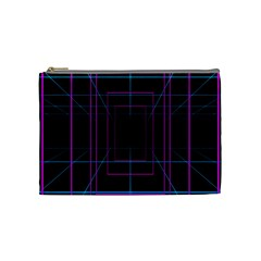 Retro Neon Grid Squares And Circle Pop Loop Motion Background Plaid Purple Cosmetic Bag (medium)  by Mariart
