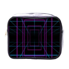 Retro Neon Grid Squares And Circle Pop Loop Motion Background Plaid Purple Mini Toiletries Bags by Mariart