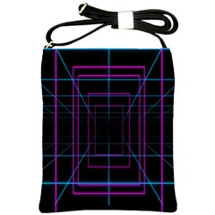 Retro Neon Grid Squares And Circle Pop Loop Motion Background Plaid Purple Shoulder Sling Bags by Mariart