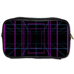 Retro Neon Grid Squares And Circle Pop Loop Motion Background Plaid Purple Toiletries Bags by Mariart