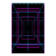 Retro Neon Grid Squares And Circle Pop Loop Motion Background Plaid Purple Shower Curtain 48  X 72  (small)  by Mariart