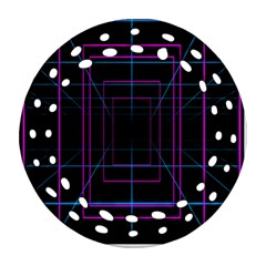 Retro Neon Grid Squares And Circle Pop Loop Motion Background Plaid Purple Round Filigree Ornament (two Sides) by Mariart