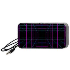 Retro Neon Grid Squares And Circle Pop Loop Motion Background Plaid Purple Portable Speaker (black) by Mariart