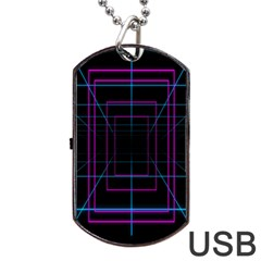 Retro Neon Grid Squares And Circle Pop Loop Motion Background Plaid Purple Dog Tag Usb Flash (two Sides) by Mariart