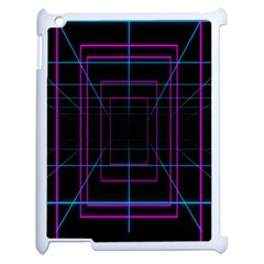 Retro Neon Grid Squares And Circle Pop Loop Motion Background Plaid Purple Apple Ipad 2 Case (white) by Mariart