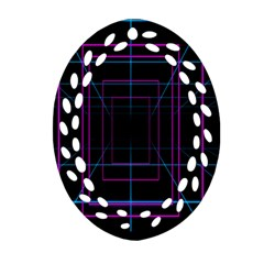 Retro Neon Grid Squares And Circle Pop Loop Motion Background Plaid Purple Ornament (oval Filigree) by Mariart