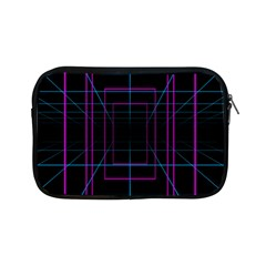 Retro Neon Grid Squares And Circle Pop Loop Motion Background Plaid Purple Apple Ipad Mini Zipper Cases by Mariart