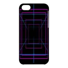 Retro Neon Grid Squares And Circle Pop Loop Motion Background Plaid Purple Apple Iphone 5c Hardshell Case by Mariart