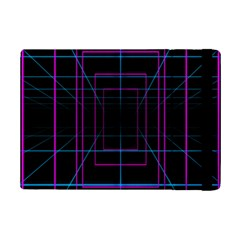 Retro Neon Grid Squares And Circle Pop Loop Motion Background Plaid Purple Ipad Mini 2 Flip Cases by Mariart