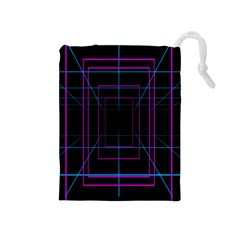 Retro Neon Grid Squares And Circle Pop Loop Motion Background Plaid Purple Drawstring Pouches (medium)  by Mariart