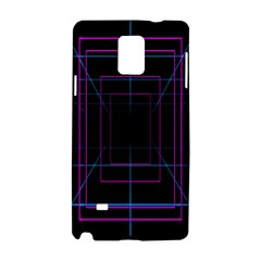 Retro Neon Grid Squares And Circle Pop Loop Motion Background Plaid Purple Samsung Galaxy Note 4 Hardshell Case by Mariart