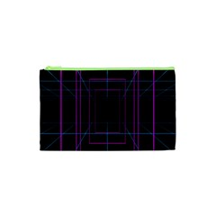 Retro Neon Grid Squares And Circle Pop Loop Motion Background Plaid Purple Cosmetic Bag (xs) by Mariart
