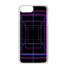 Retro Neon Grid Squares And Circle Pop Loop Motion Background Plaid Purple Apple Iphone 7 Plus White Seamless Case by Mariart