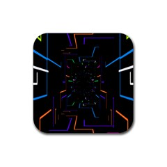 Seamless 3d Animation Digital Futuristic Tunnel Path Color Changing Geometric Electrical Line Zoomin Rubber Coaster (square)  by Mariart