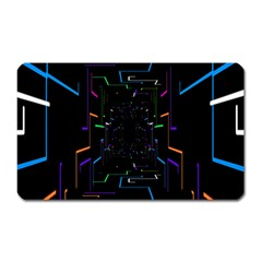 Seamless 3d Animation Digital Futuristic Tunnel Path Color Changing Geometric Electrical Line Zoomin Magnet (rectangular) by Mariart