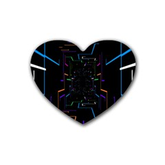 Seamless 3d Animation Digital Futuristic Tunnel Path Color Changing Geometric Electrical Line Zoomin Rubber Coaster (heart)  by Mariart